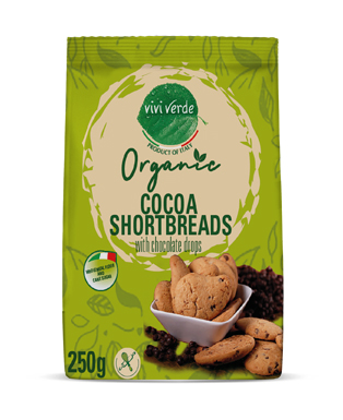 Organic Cocoa Shortbread with chocholate drops 250 g (8,82 oz)