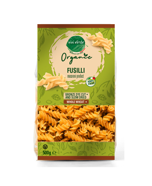 Organic Whole Wheat Fusilli Bronze Dryed 500 g (17,637 oz)