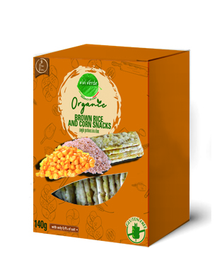 Organic whole rice and corn cakes single portion 140 g (4,94 oz)
