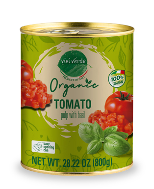 Organic Diced Tomatoes with basil 800 g (28,22 oz)